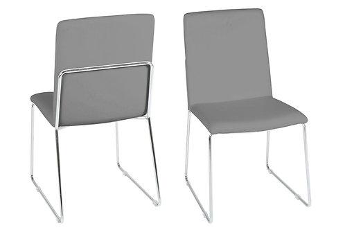Krzesło tapicerowane skórą ekologiczną - szare