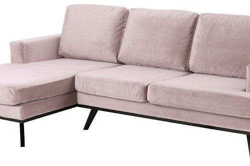 Sofa narożna Nina różowa  lewa  233 cm