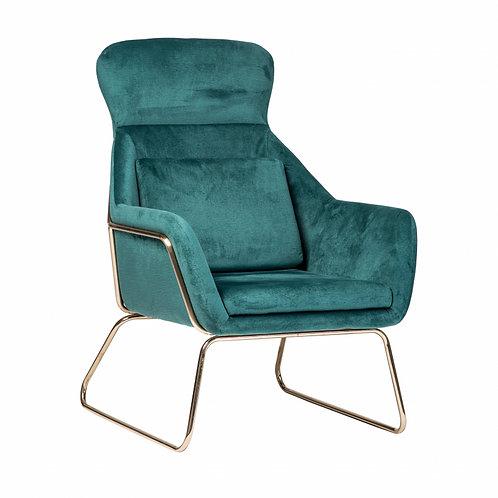 Fotel welurowy zielony  Maro