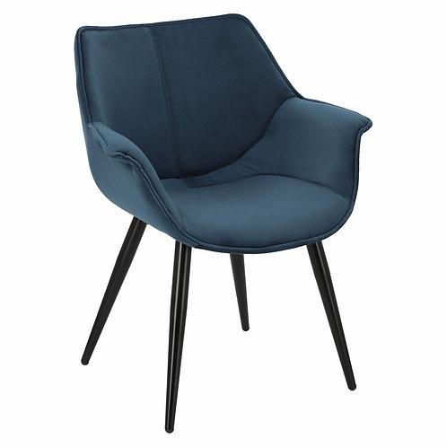 Krzesło granatowe  welurowe  z czarnymi nogami  Julia 2