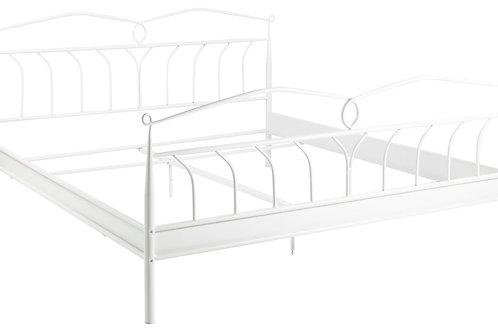 Łóżko metalowe białe zdobione Aurora  180x200cm