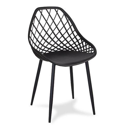 Czarne krzesło na metalowych nogach Aleksander 1