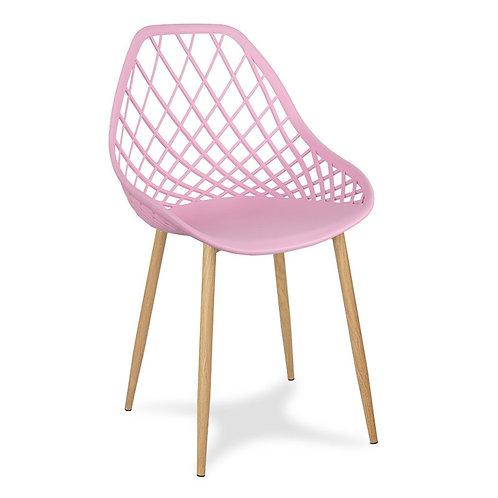 Krzesło różowe na metalowych jasnych nogach Jelena 3