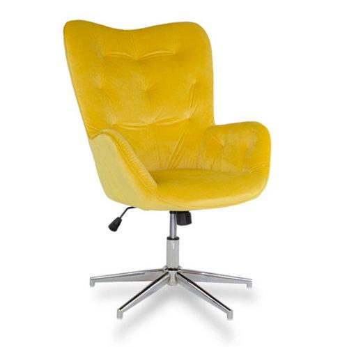 Fotel obrotowy z weluru  żółty  Letycja 28