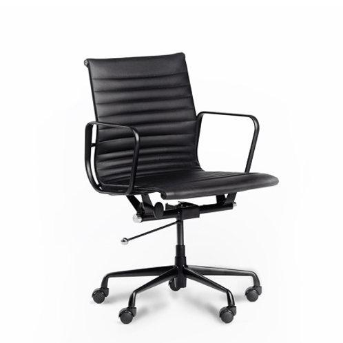 Czarny fotel biurowy Wiktor   33 skóra naturalna