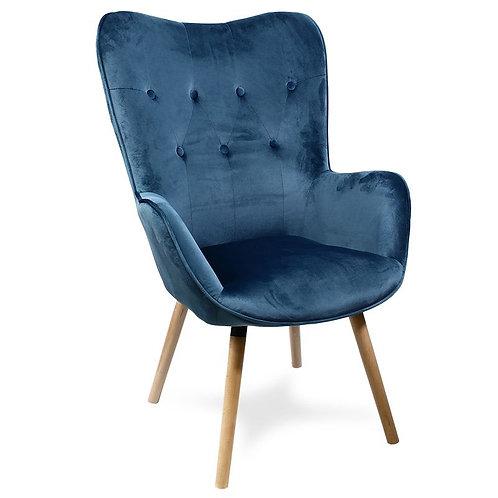Fotel welurowy niebieski Dorian
