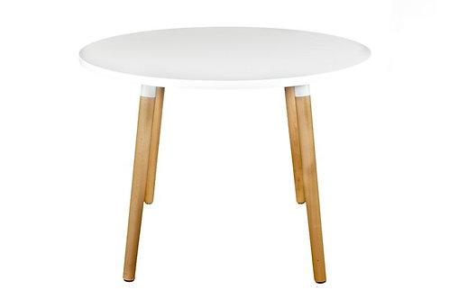 Biały okrągły stół  Dekor