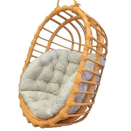 Wiklinowy fotel podwieszany  owalny - pomarańczowy