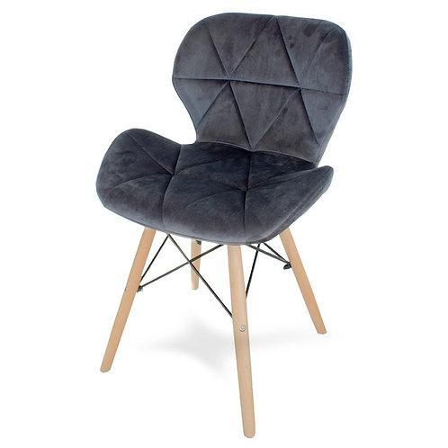 Krzesło welurowe szare  Charles 3
