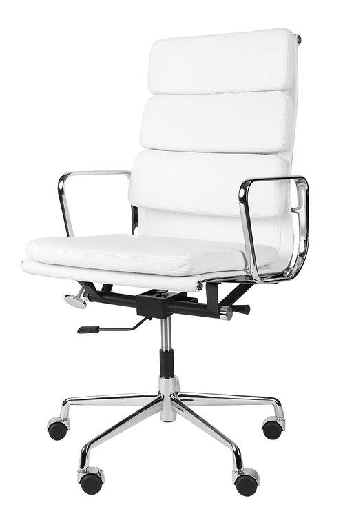 Biały fotel biurowy - skóra Emma 1