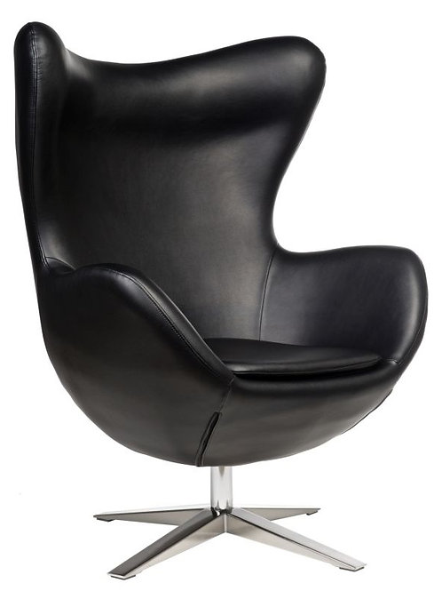 Fotel EGG Soft skóra ekologiczna - czarny