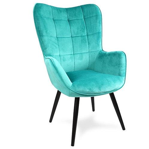 Fotel uszak welurowy zielony  Laura 33