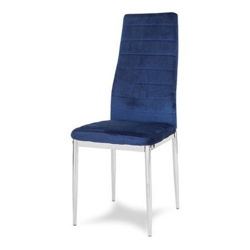 Krzesło niebieskie welurowe na chromowanych nogach