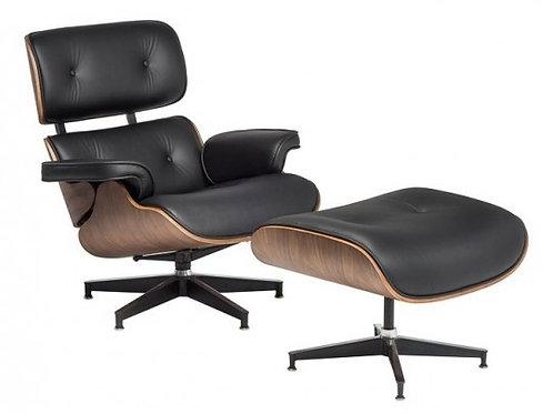 Fotel z podnóżkiem Luxury VIP czarny SKÓRA/JASNY ORZECH