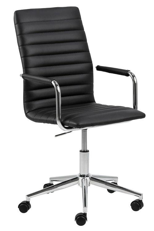 Fotel biurowy obrotowy czarny Roni skóra