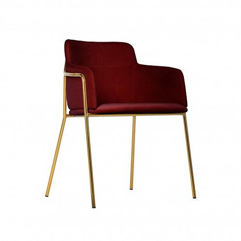 Krzesło bordowe  welurowe złote nóżki Maribella