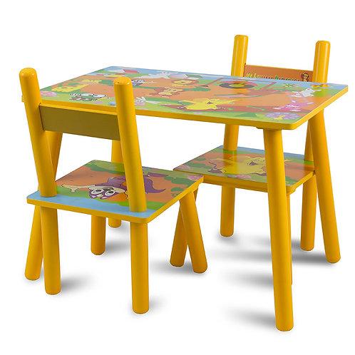Zestaw dziecięcy stół + 2 krzesła z drewna Orange