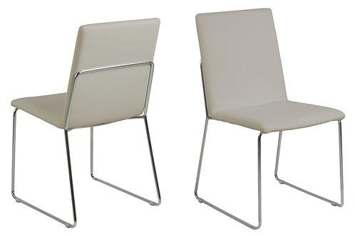 Krzesło tapicerowane skórą ekologiczną - beż