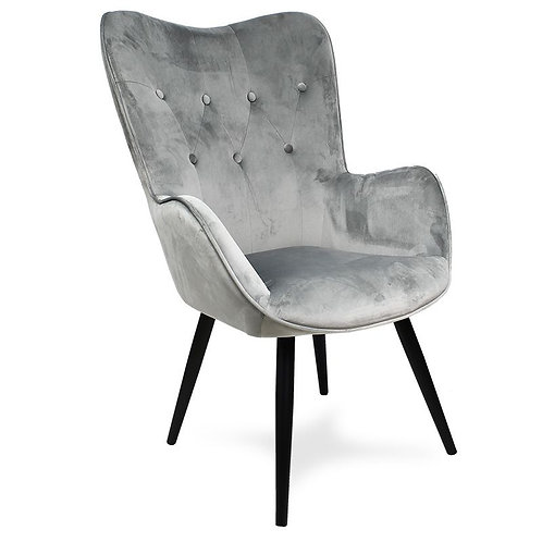 Fotel uszak welurowy szary  z czarnymi nogami