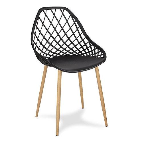 Krzesło czarne na metalowych jasnych nogach Jelena 2