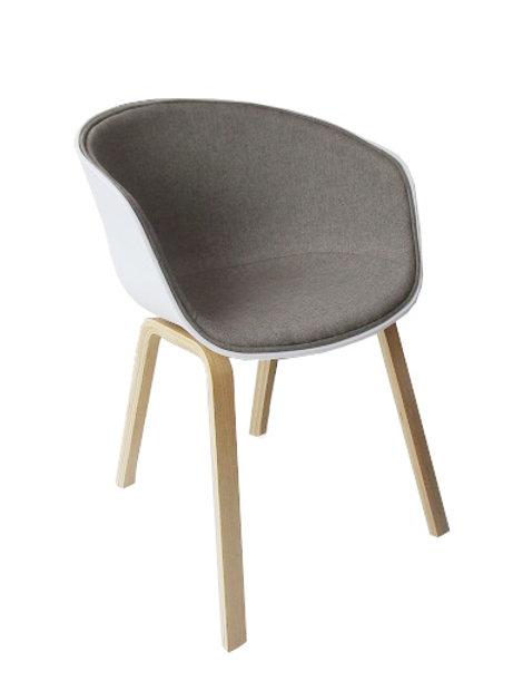 Fotel MODERNO  szaro-biały - polipropylen, tkanina, podstawa bukowa