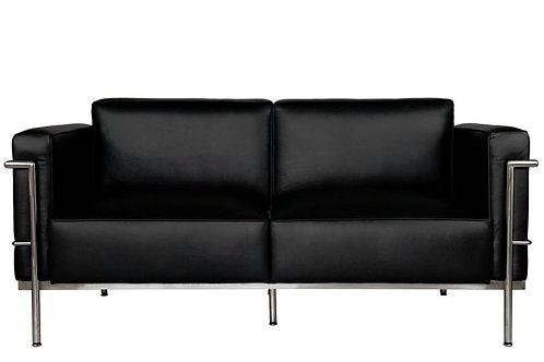 Sofa 2-osobowa -  czarna skóra