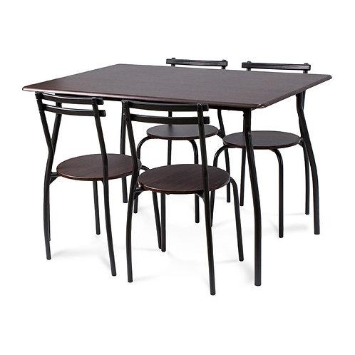 Prostokątny stół z czterema krzesłami - WENGE