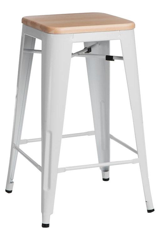 Designerski biały Hoker Andre -  75cm biały sosna natura