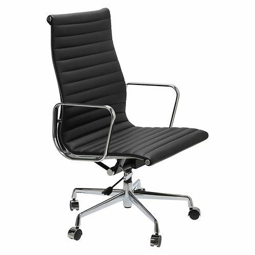 Fotel biurowy czarny obrotowy skóra naturalna Danuta 2