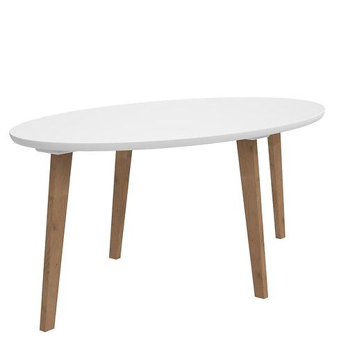 Owalny stolik z białym blatem