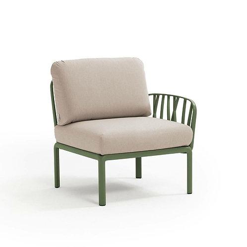 Fotel Komodo końcowy zielony /kremowy