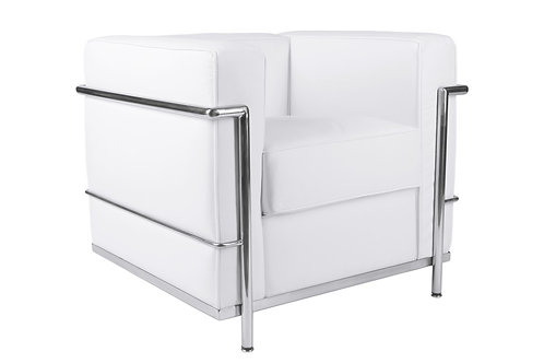 Fotel Kubik - biała skóra