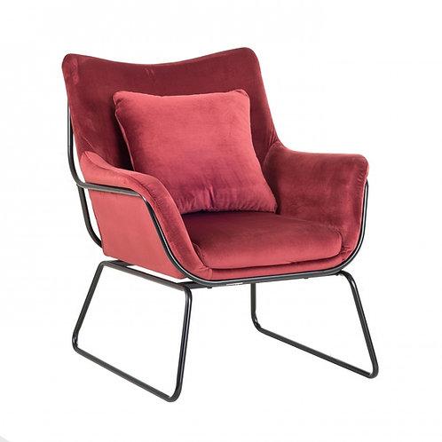 Fotel welurowy Bordowy 44