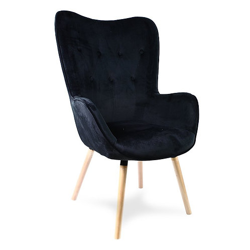 Fotel czarny welurowy Marti
