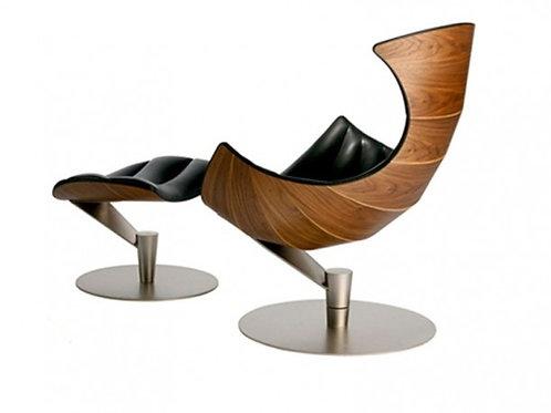Fotel z podnózkiem  CZARNA SKÓRA/JASN   Shell Y ORZECH