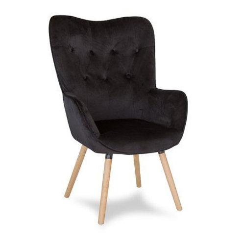Fotel uszak czarny  welurowy- nogi bukowe Magnus 1