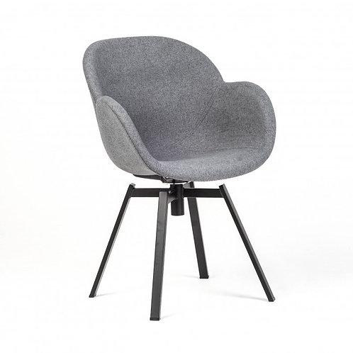 Krzesło tapicerowane szare obrotowe Tulip 44