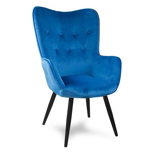 Fotel uszak welurowy niebieski   z czarnymi nogami