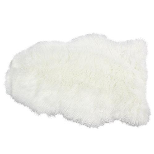 Białe  futerko - dywanik 70x45 cm