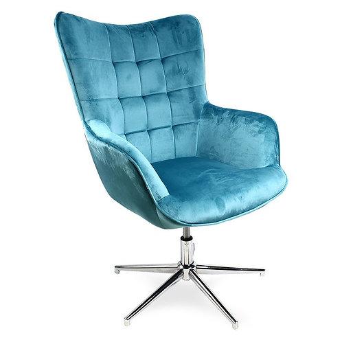 Fotel uszak welurowy  obrotowy niebieski