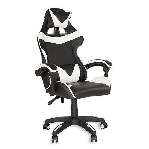 Fotel czarno - biały  biurowy gamingowy ekoskóra