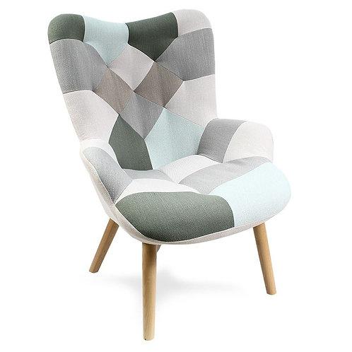 Fotel uszak patchwork tapicerowany