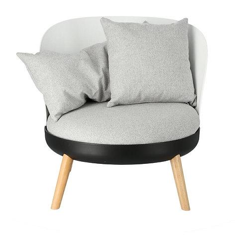 Fotel Berni  biały/czarny/szary