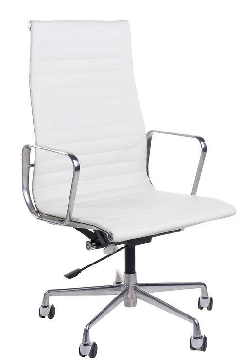 Fotel biurowy - biała skóra/chrom