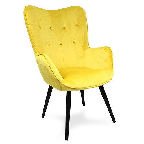 Fotel uszak welurowy żółty z  czarnymi nogami