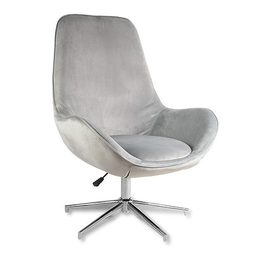 Fotel obrotowy z weluru szary Ines 1