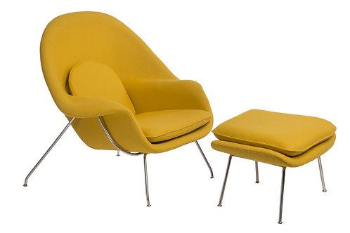 Fotel żółty  z podnóżkiem Snug