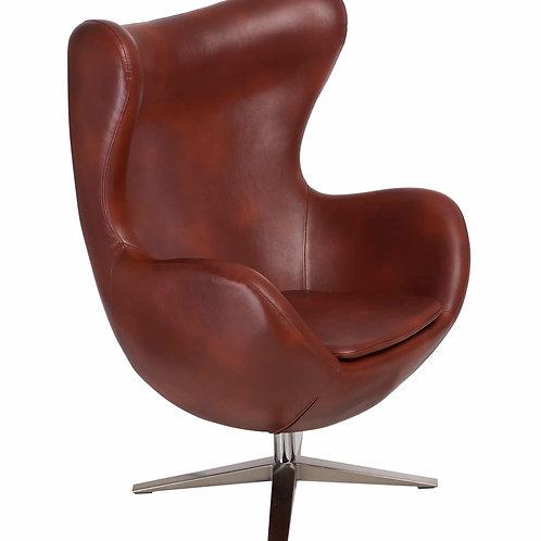 Fotel EGG Soft skóra ekologiczna -  kasztanowy