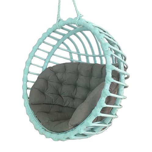 Wiklinowy fotel kula  niebieski jasny - Rattan Swing