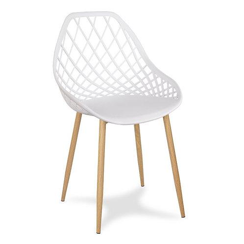 Białe krzesło na metalowych jasnych nogach Jelena  1